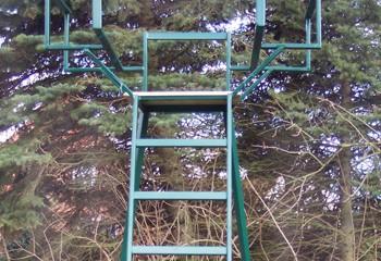 hochsitz eller skydestige opsat i granskov